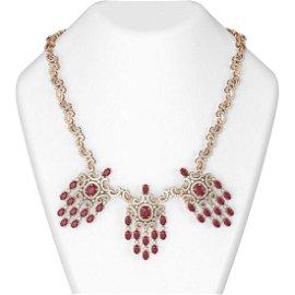 39.62 ctw Ruby & Diamond Necklace 18K Rose Gold -