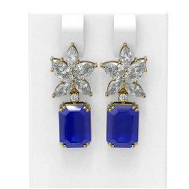 15.19 ctw Sapphire & Diamond Earrings 18K Yellow Gold -