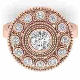 0.91 CTW Certified VS/SI Diamond Art Deco Ring 18K Rose