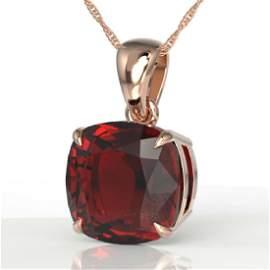 6 CTW Cushion Cut garnet Designer Solitaire necklace