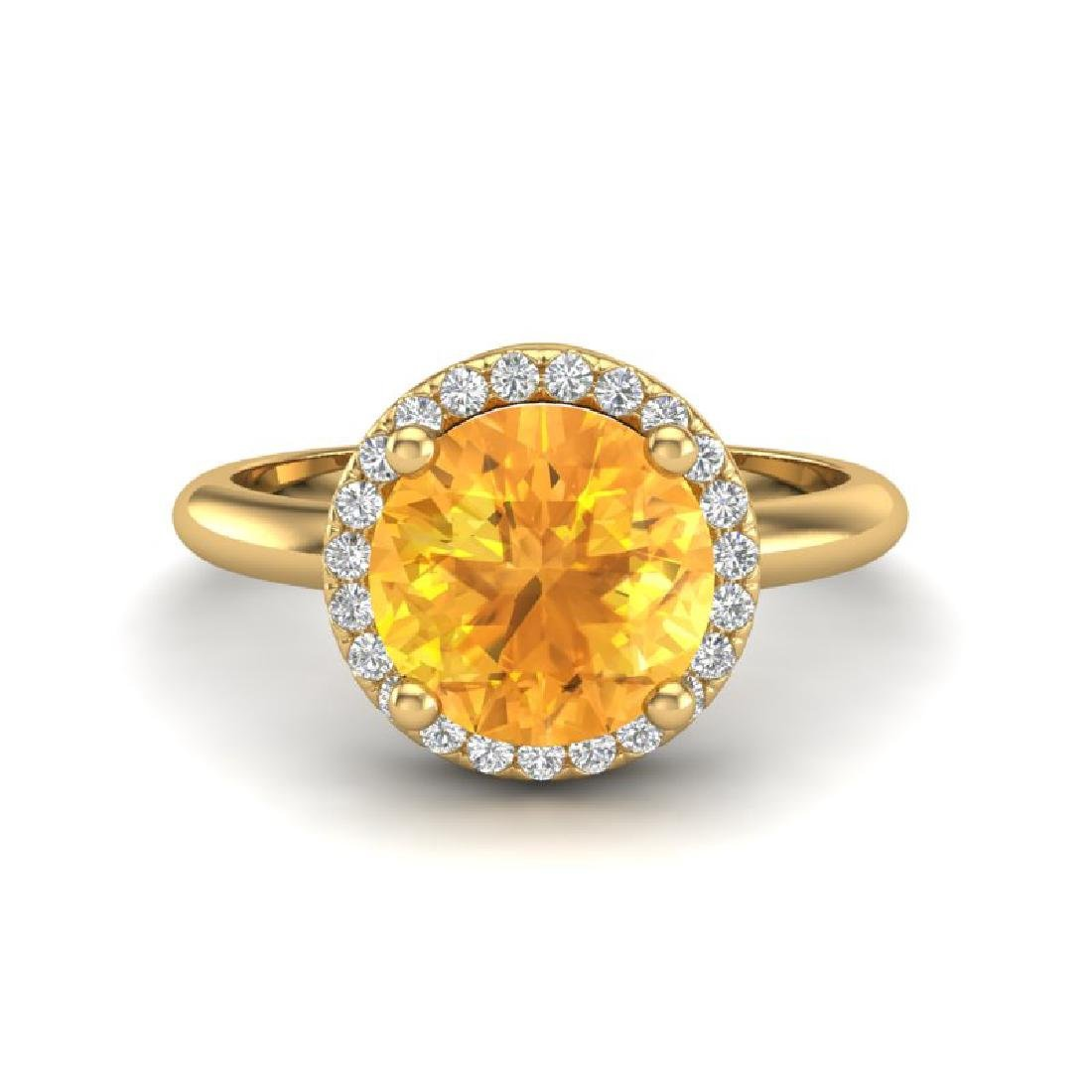 2 CTW Citrine & Micro VS/SI Diamond Certified Ring