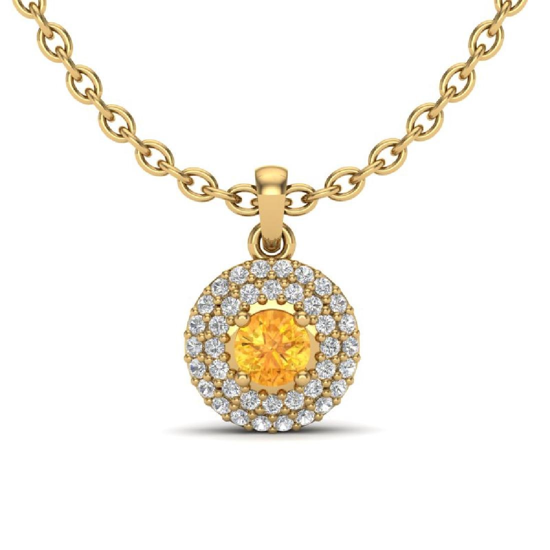 0.60 CTW Citrine & Micro VS/SI Diamond Necklace 18K