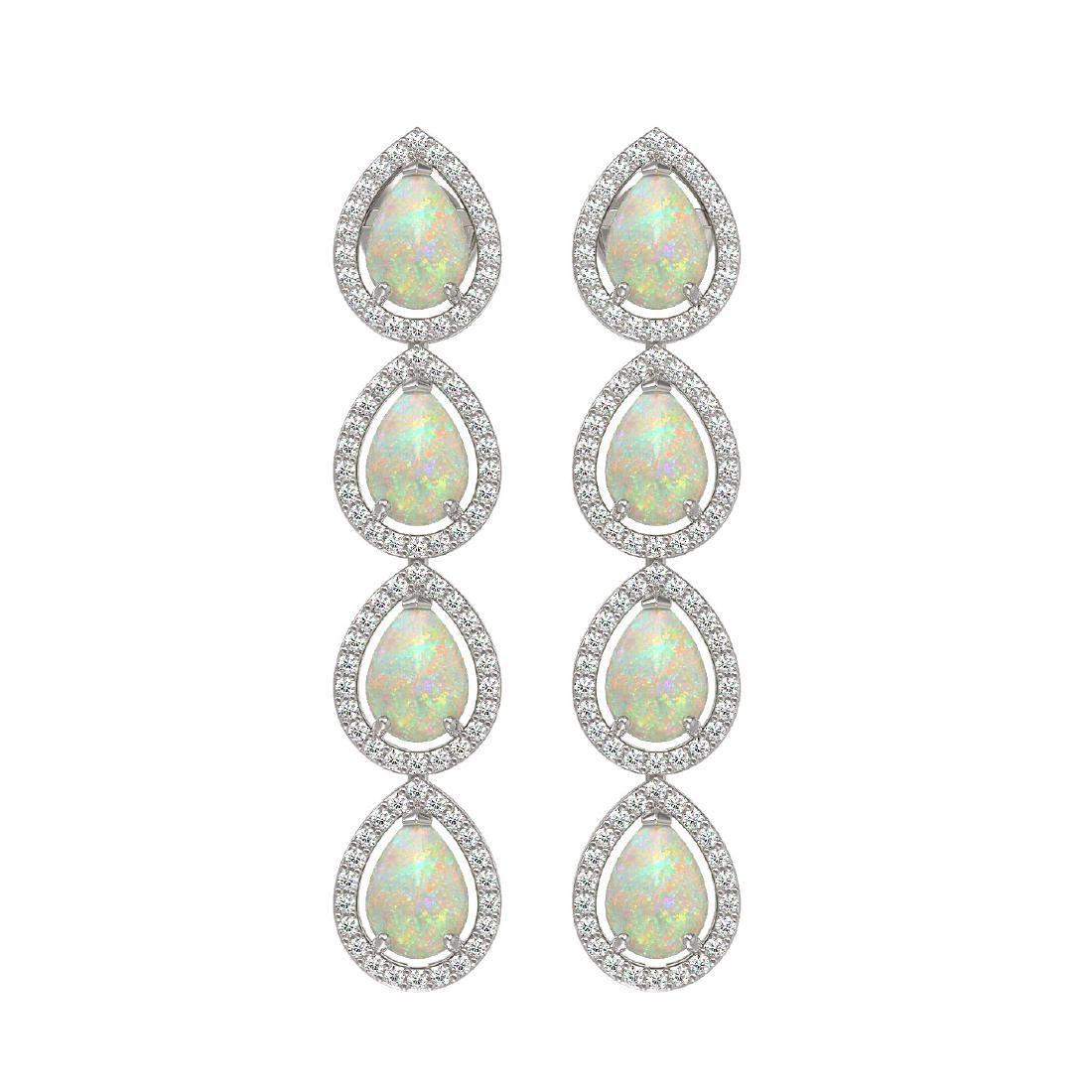 6.2 CTW Opal & Diamond Halo Earrings 10K White Gold
