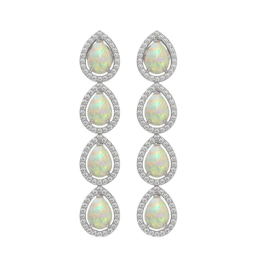 6.2 CTW Opal & Diamond Halo Earrings 10K White Gold