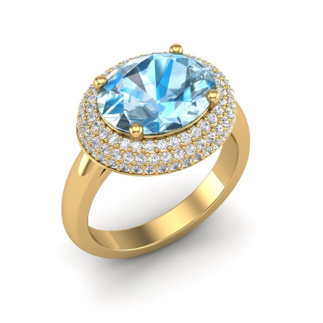 5 CTW Sky Blue Topaz & Micro Pave VS/SI Diamond