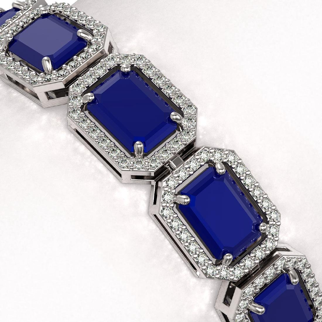26.21 CTW Sapphire & Diamond Halo Bracelet 10K White - 3