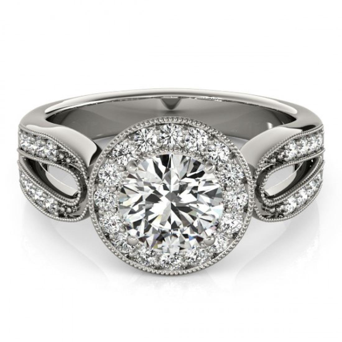 1.40 CTW Certified VS/SI Diamond Solitaire Halo Ring