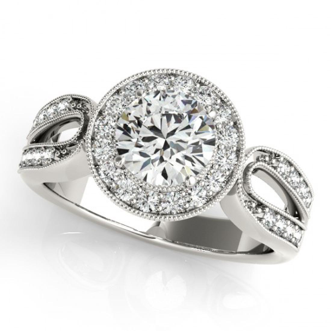 1.40 CTW Certified VS/SI Diamond Solitaire Halo Ring - 2