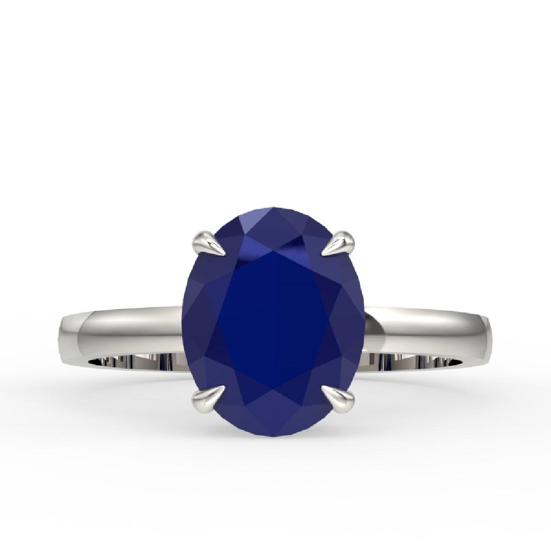 3.50 CTW Sapphire Designer Inspired Solitaire Ring 18K