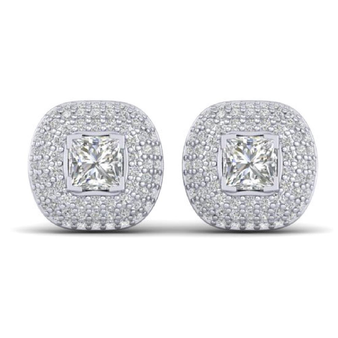 2 CTW Princess VS/SI Diamond Art Deco Stud Micro Halo