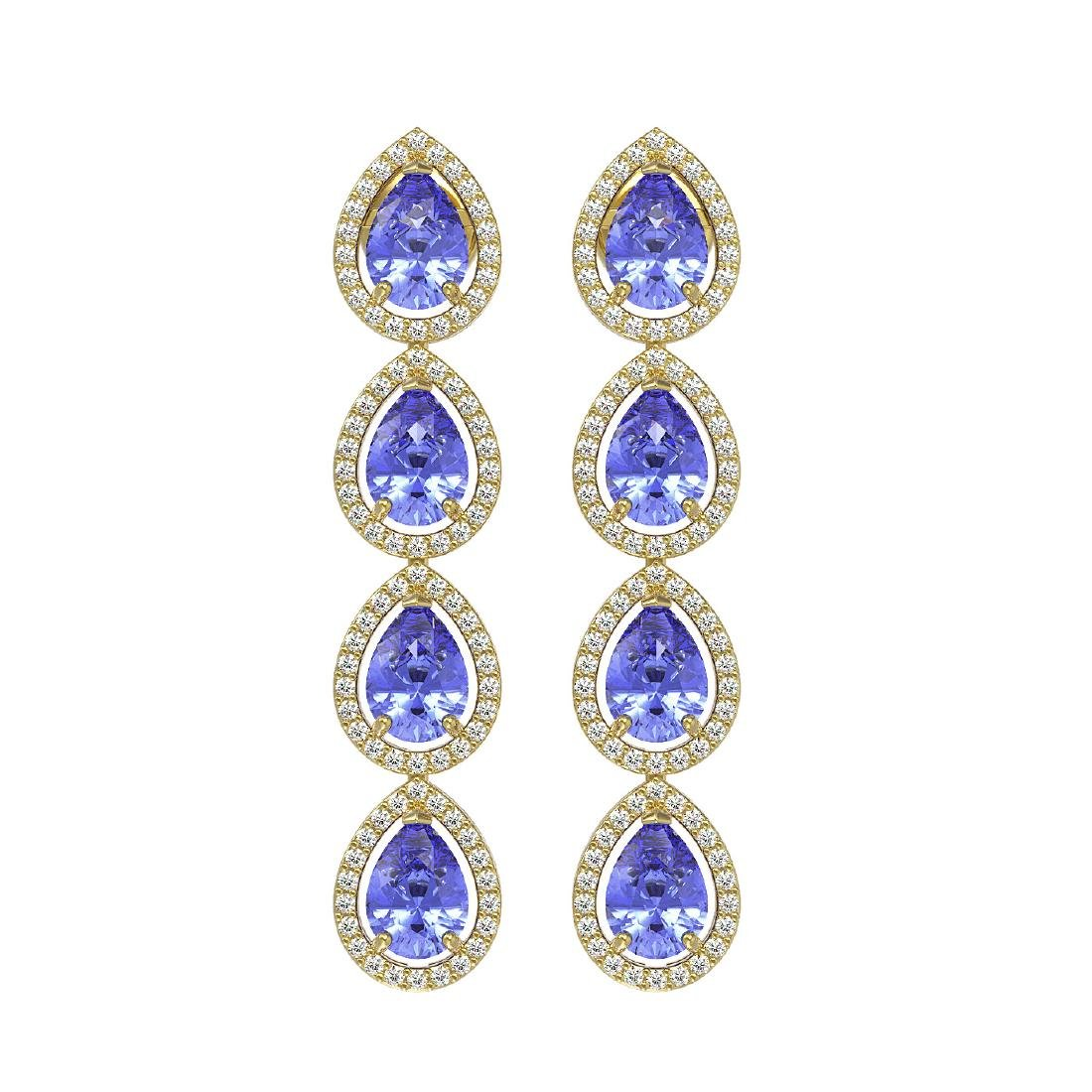 9.01 CTW Tanzanite & Diamond Halo Earrings 10K Yellow