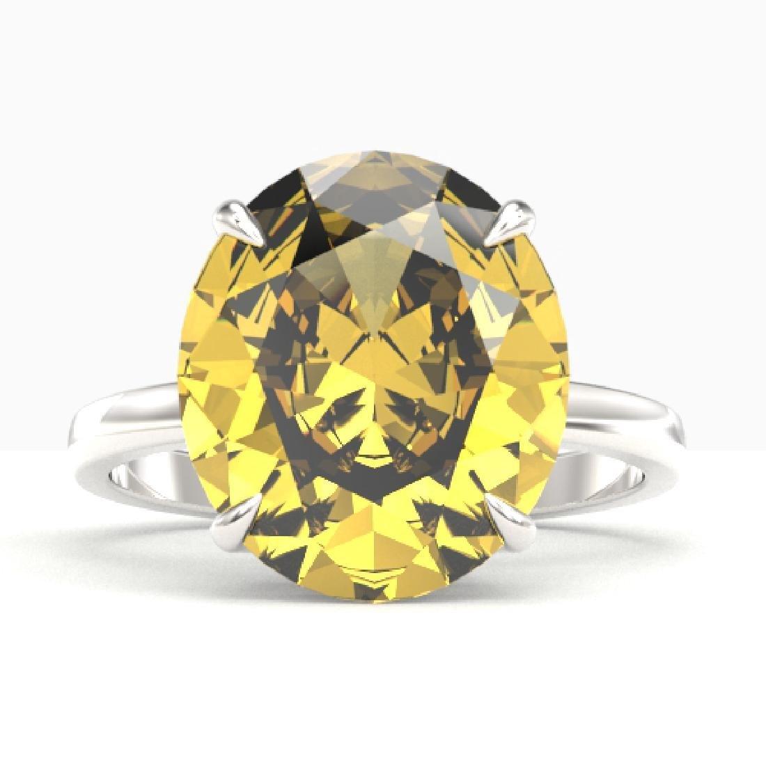 9 CTW Citrine Designer Solitaire Engagement Ring 18K