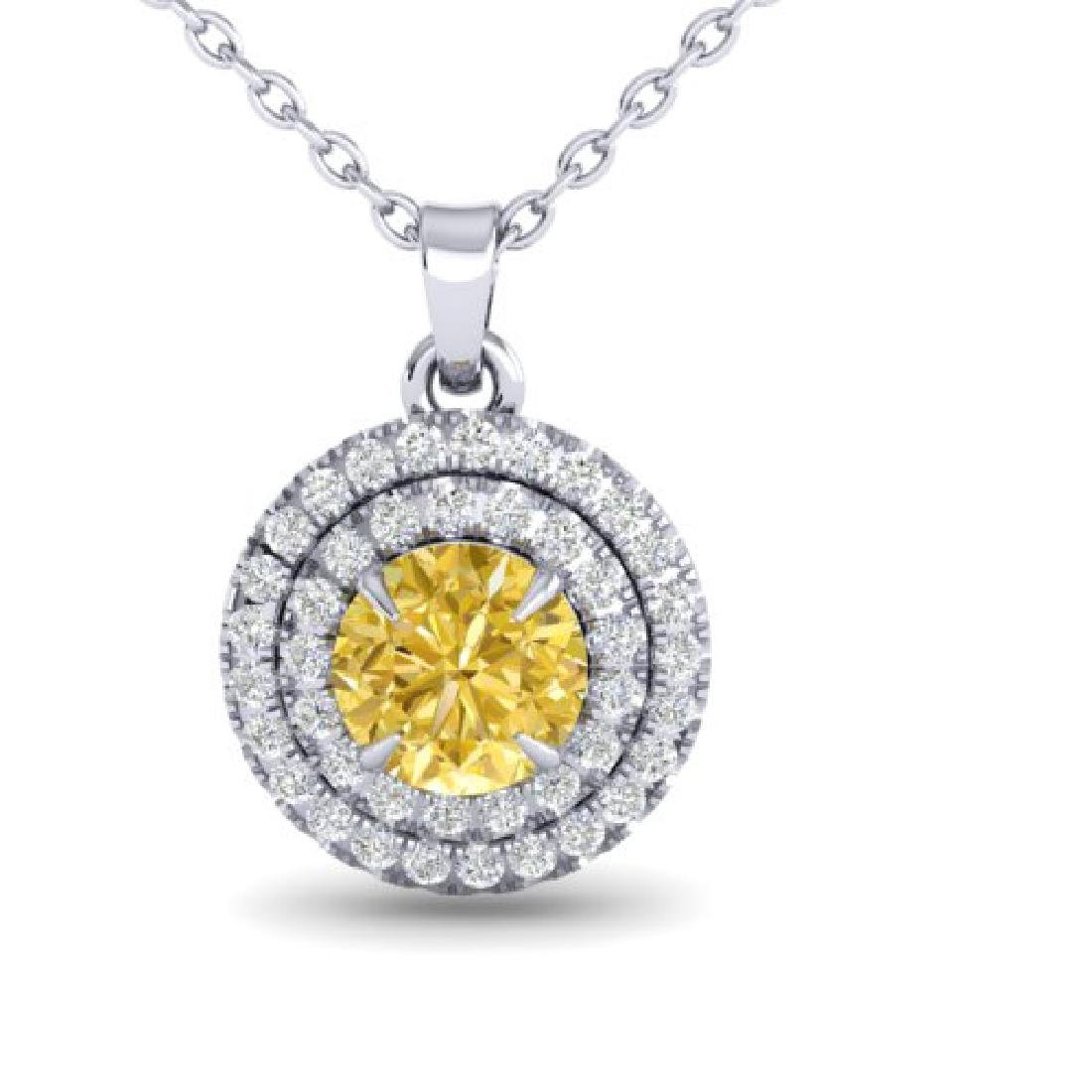 1 CTW Citrine & Micro VS/SI Diamond Solitaire Necklace