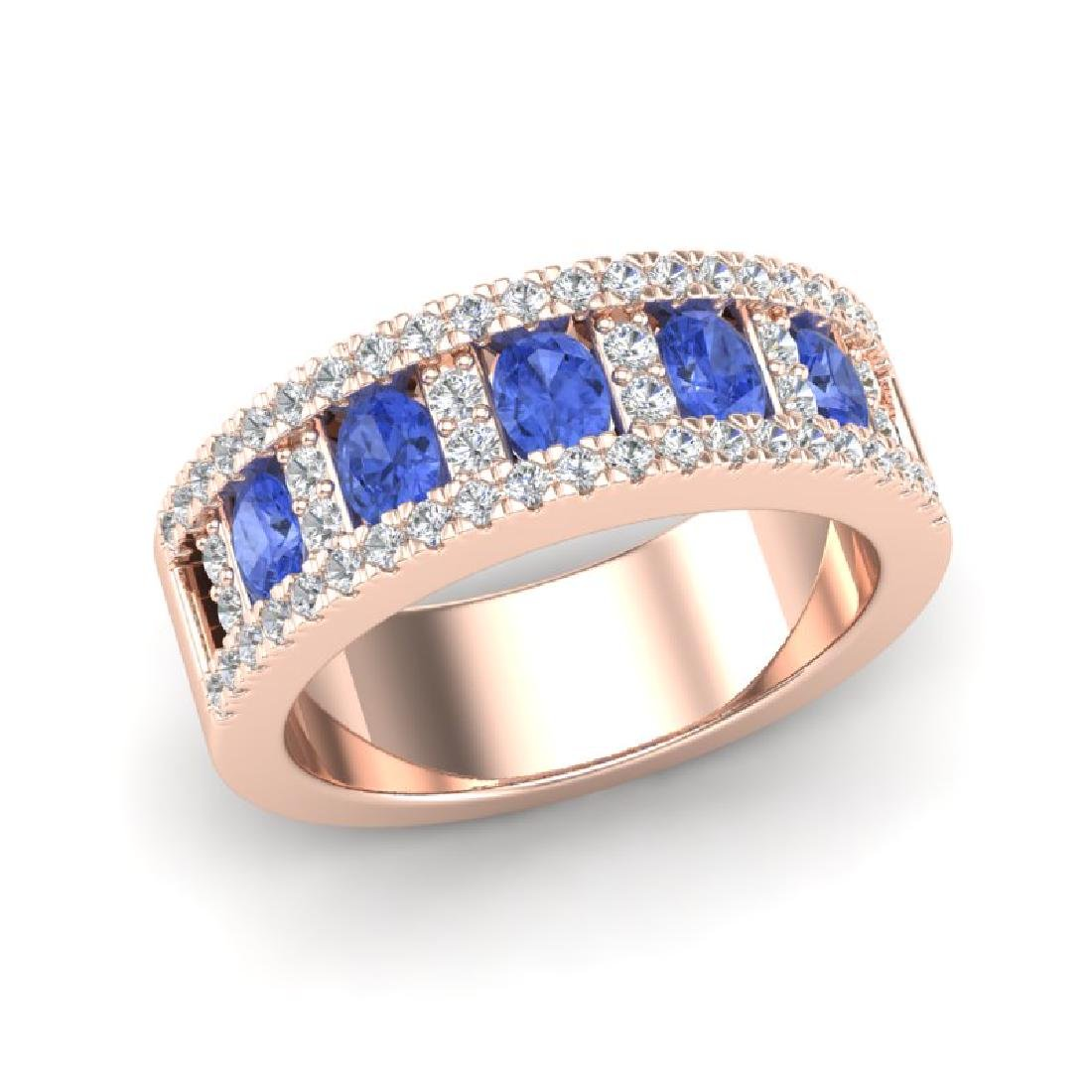 1.75 CTW Tanzanite & Micro Pave VS/SI Diamond Inspired - 2