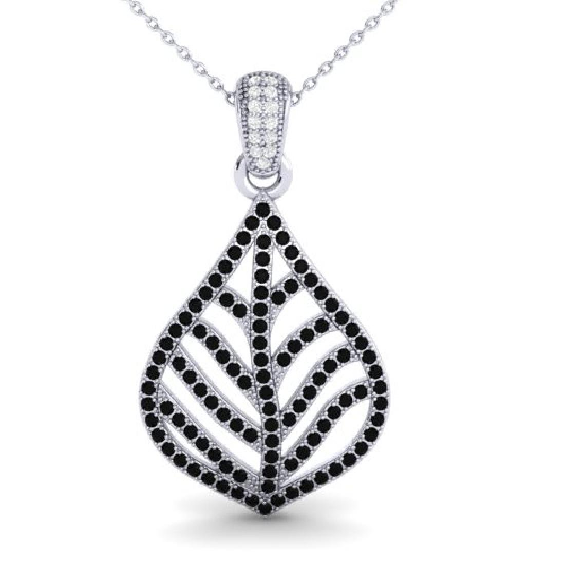 1.25 CTW Micro Pave Black & VS/SI Diamond Necklace