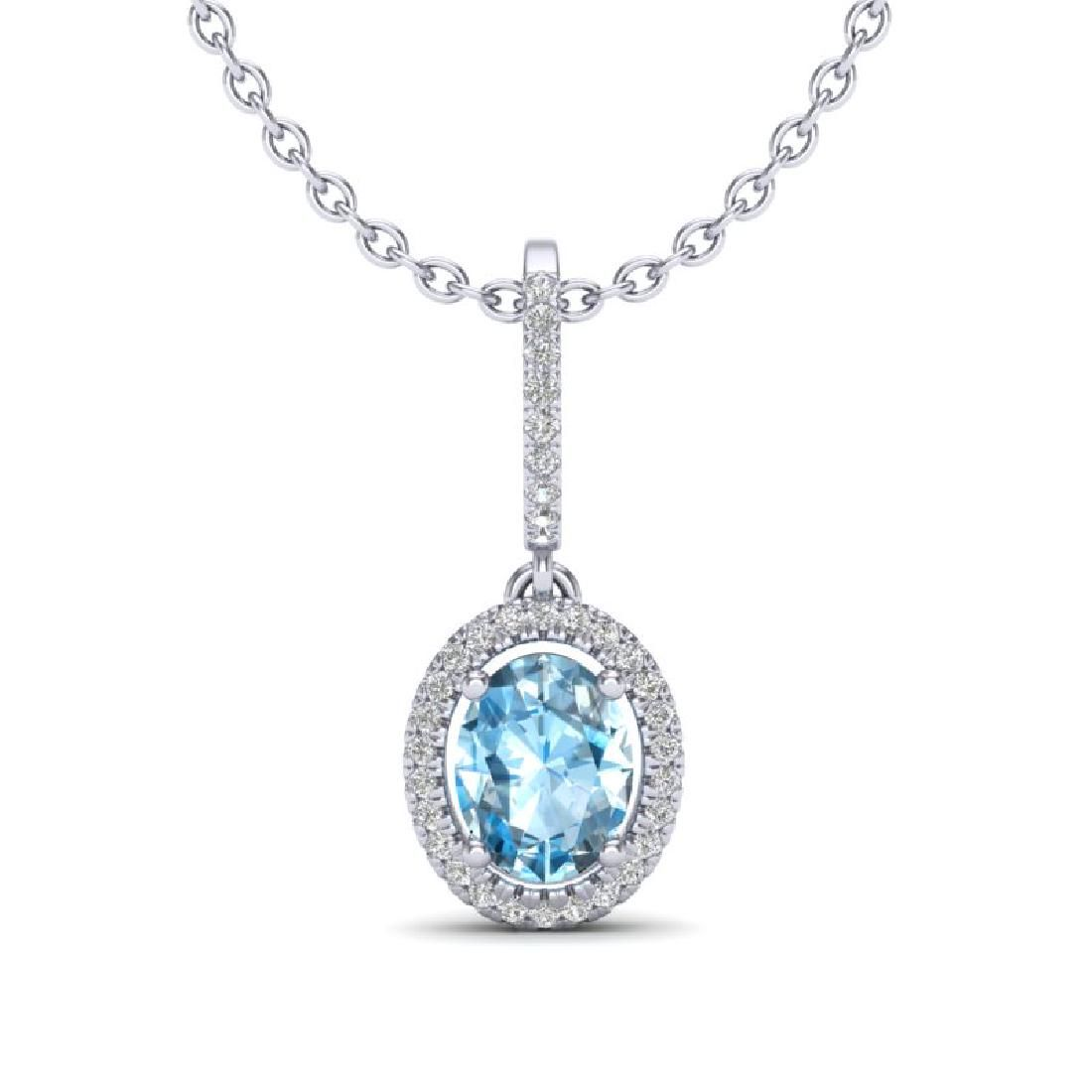 2 CTW Sky Blue Topaz Micro VSSI Diamond Necklace