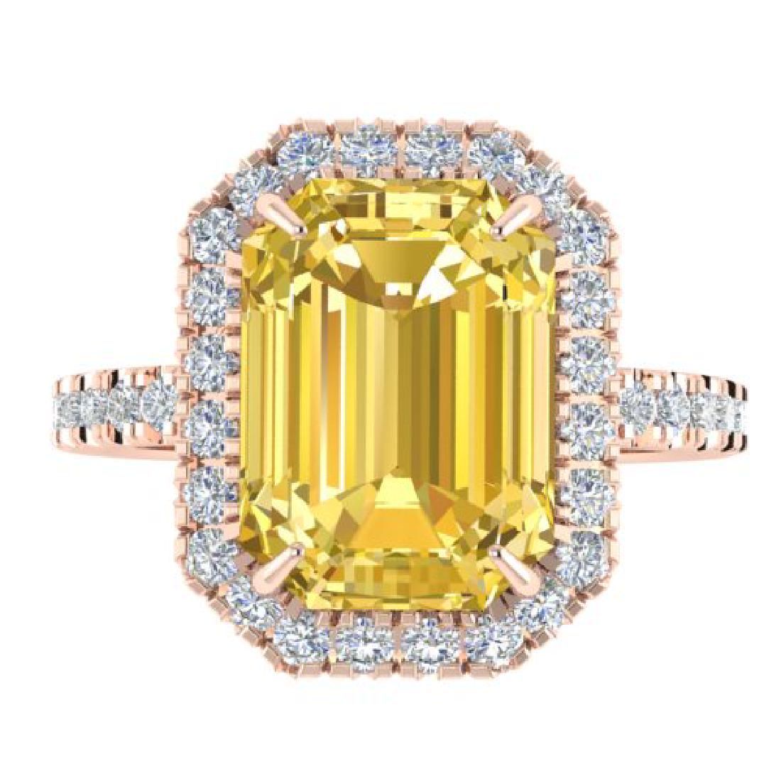 450 CTW Citrine And Micro Pave VSSI Diamond Halo Ring