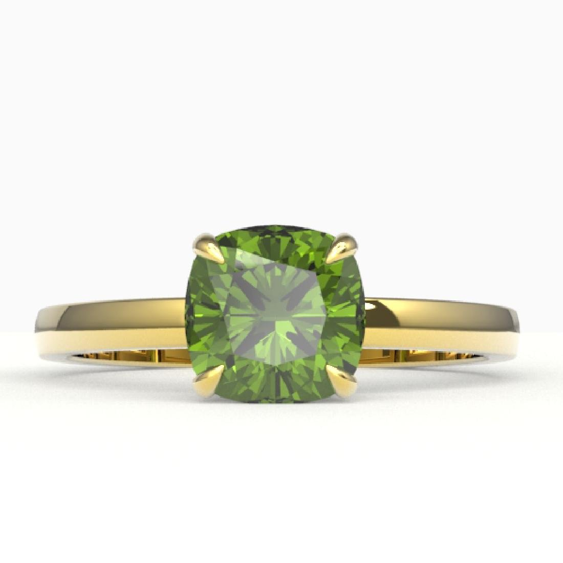 2 CTW Cushion Cut Green Tourmaline Solitaire Engagement