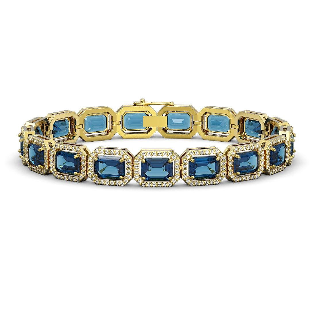 25.36 CTW London Topaz & Diamond Halo Bracelet 10K