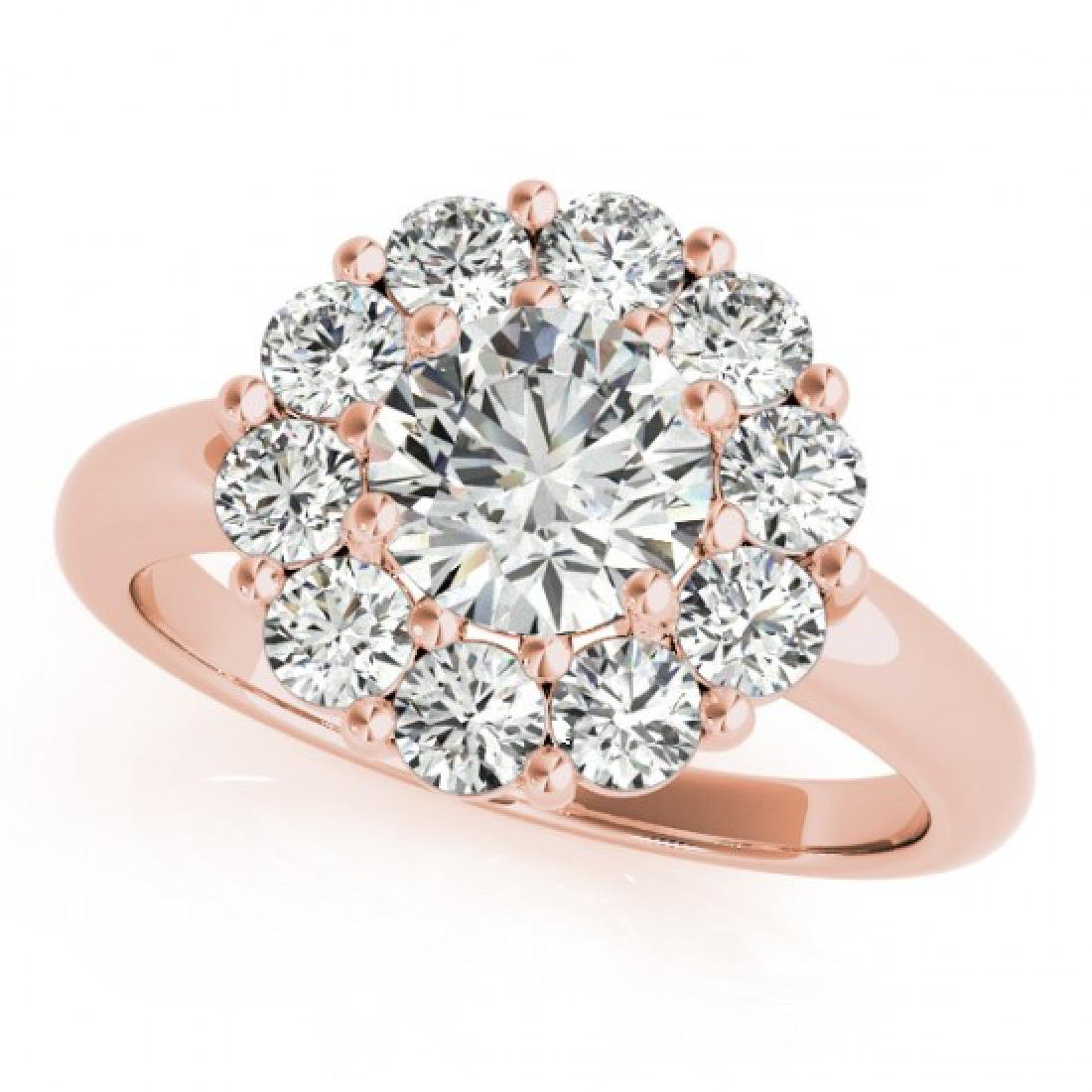 2.85 CTW Certified VS/SI Diamond Solitaire Halo Ring