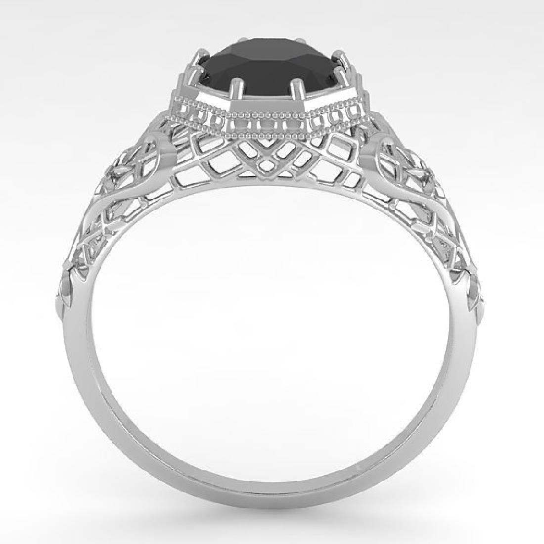 1.50 CTW Black Certified Diamond Ring Art Deco 14K - 3