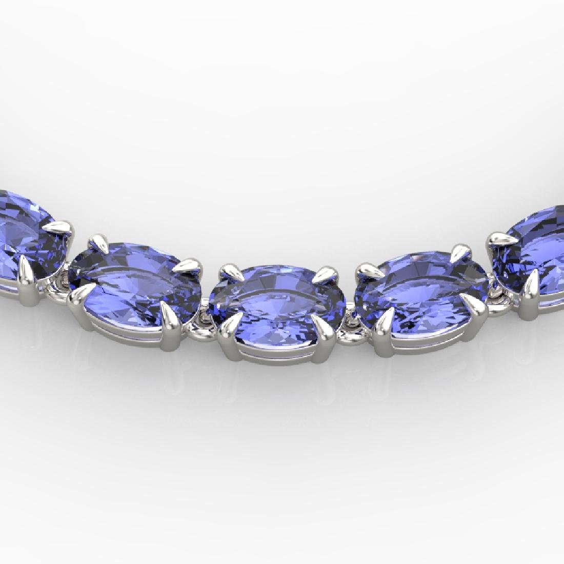 40 CTW Tanzanite Eternity Tennis Necklace 14K White