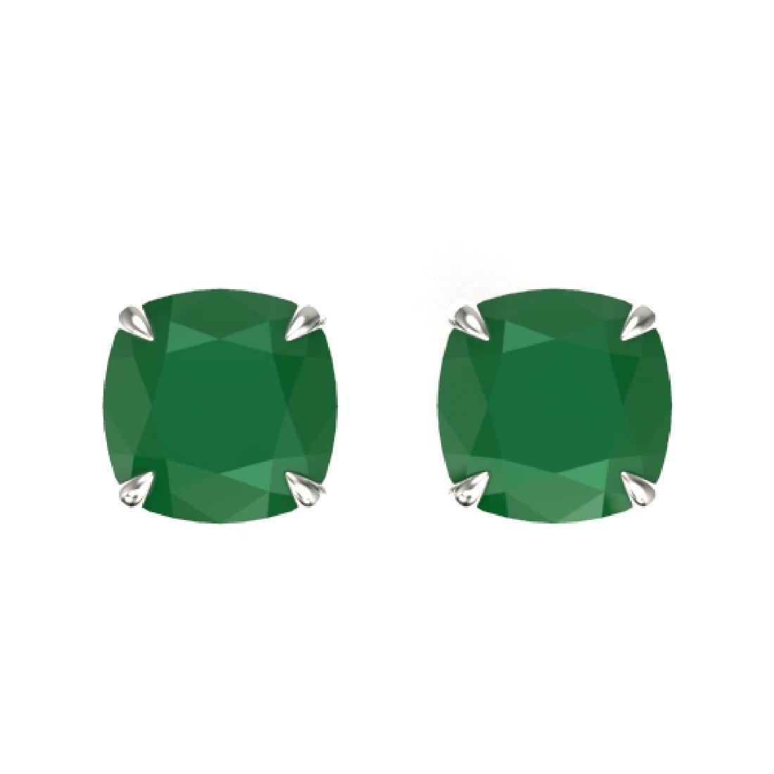 4 CTW Cushion Cut Emerald Designer Solitaire Stud