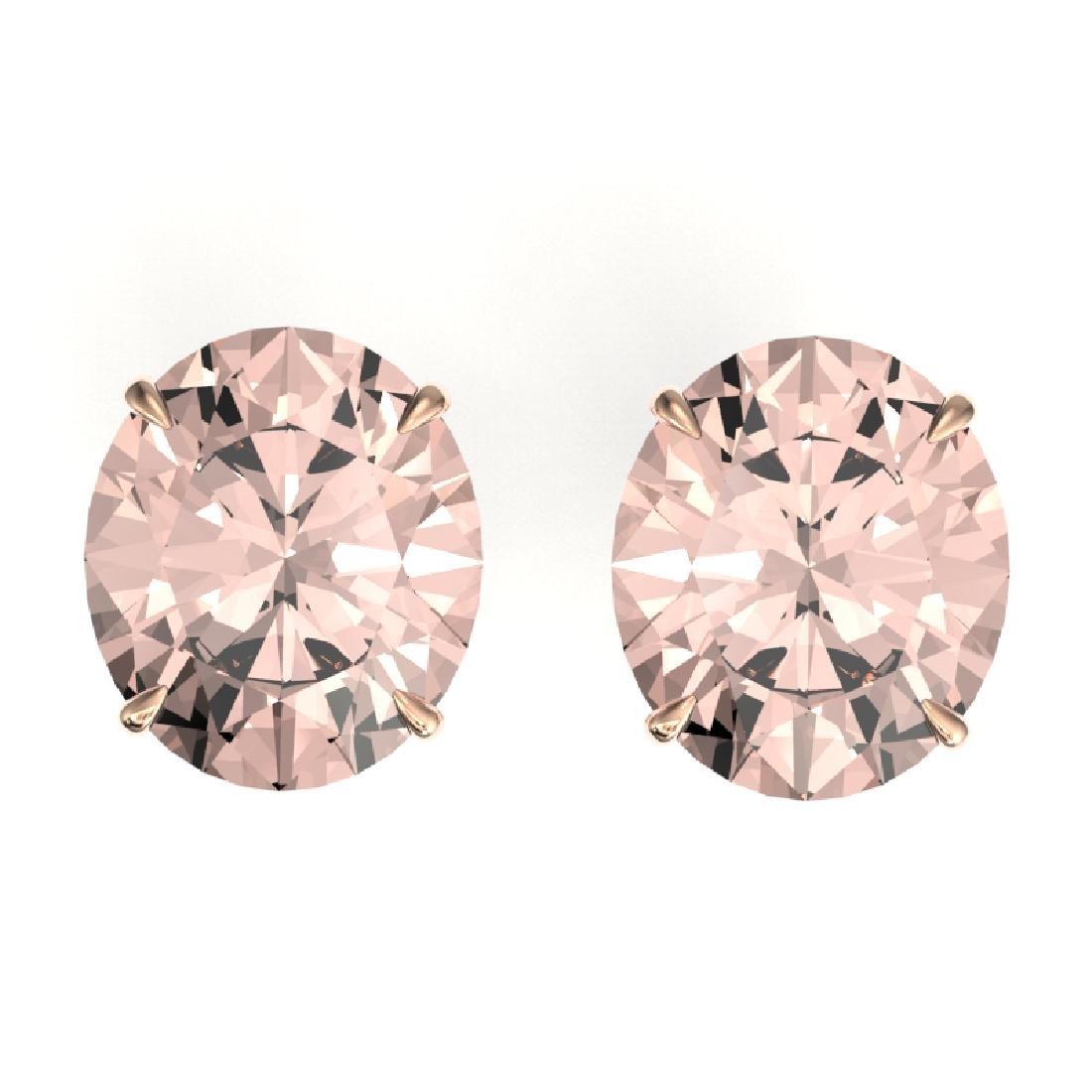 18 CTW Morganite Designer Solitaire Stud Earrings 14K