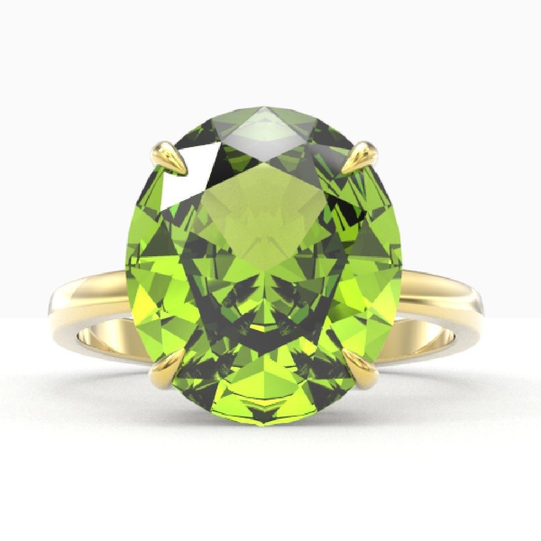 9 CTW Peridot Designer Solitaire Engagement Ring 18K