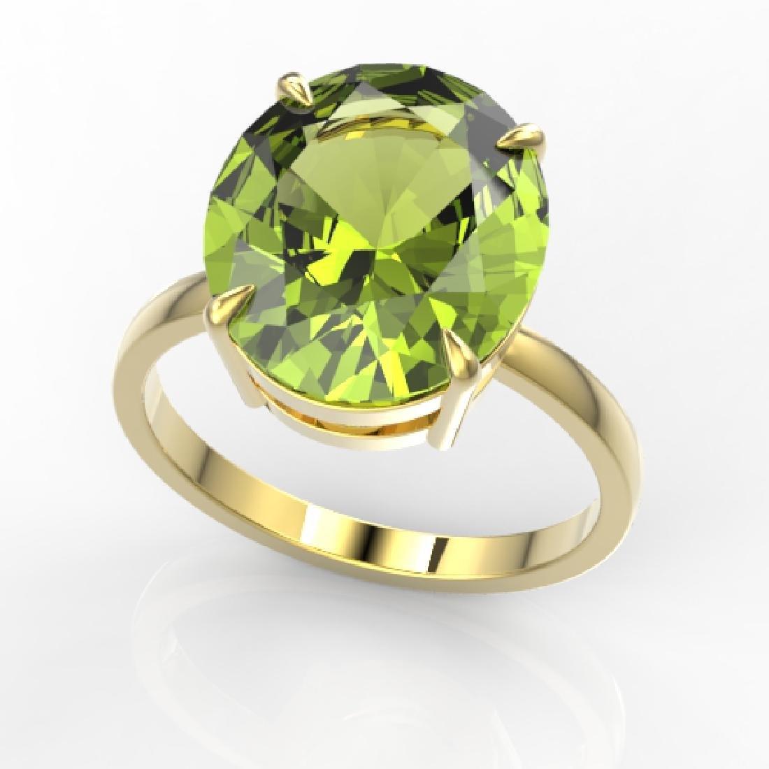 9 CTW Peridot Designer Solitaire Engagement Ring 18K - 2