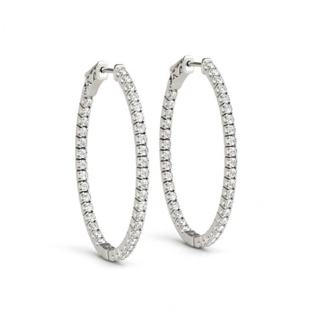 1 CTW Diamond VS/SI Certified 22 Mm Hoop Earrings 14K - 2