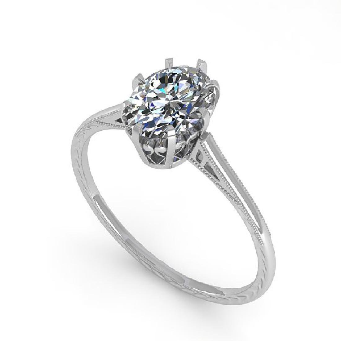 1.0 CTW VS/SI Oval Diamond Solitaire Ring 14K White - 2