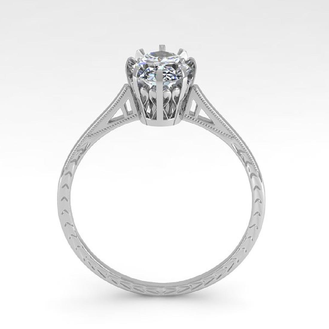 1.0 CTW VS/SI Oval Diamond Solitaire Ring 14K White - 3