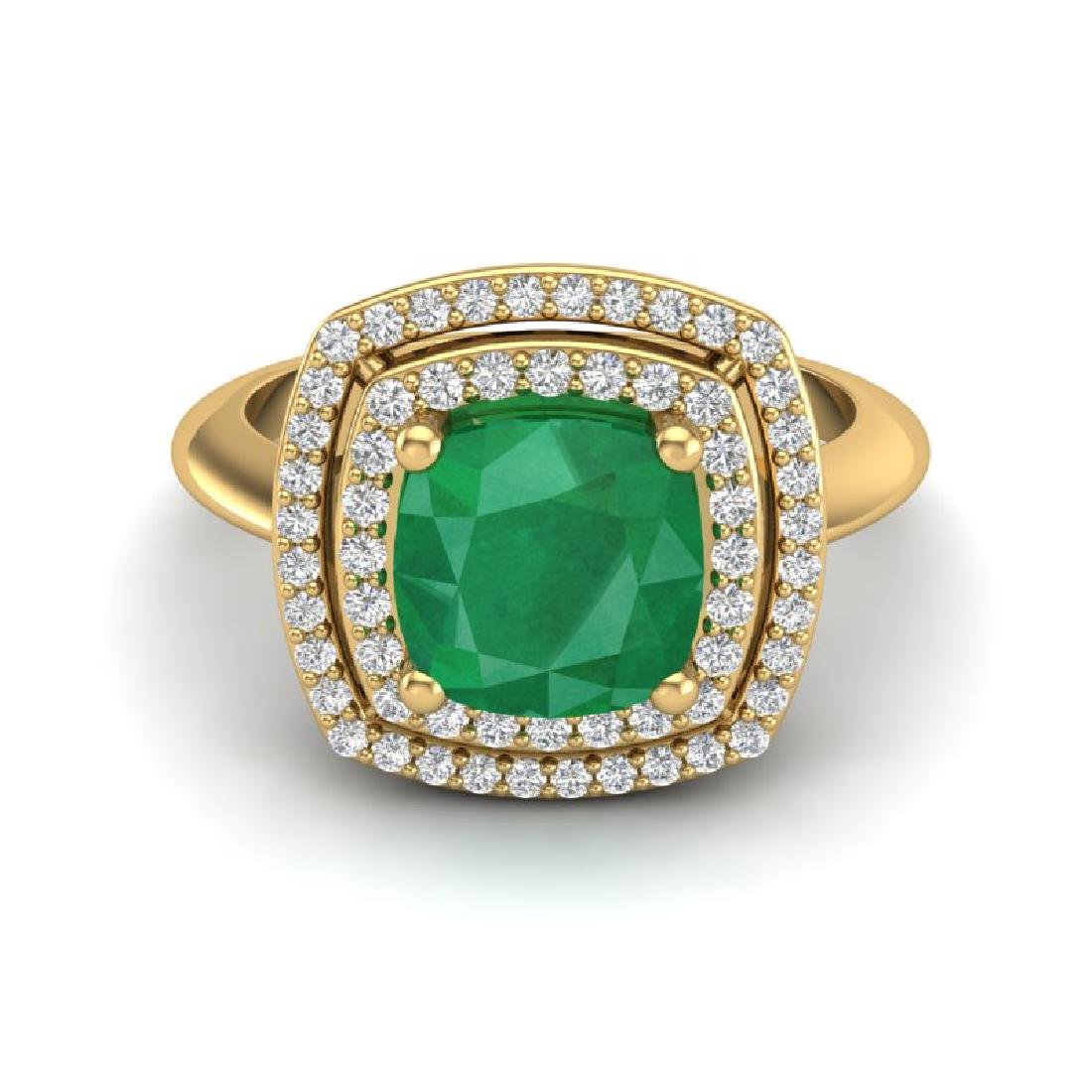 2.52 CTW Emerald & Micro VS/SI Diamond Pave Halo Ring