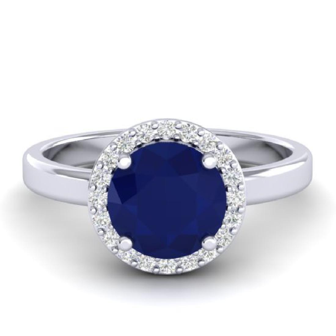 2 CTW Sapphire & Halo VS/SI Diamond Micro Pave Ring 18K