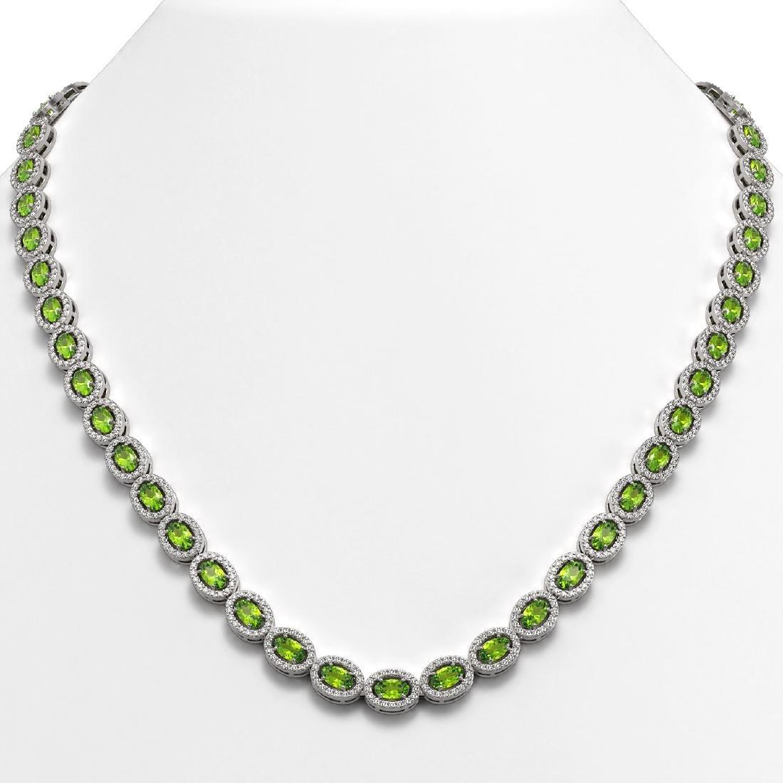 23.86 CTW Peridot & Diamond Halo Necklace 10K White