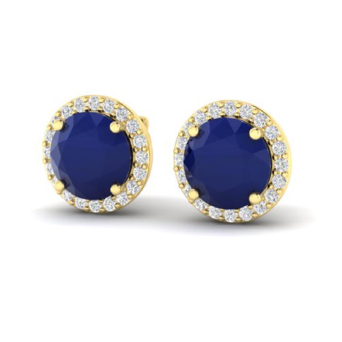 4 CTW Sapphire & Halo VS/SI Diamond Micro Pave Earrings