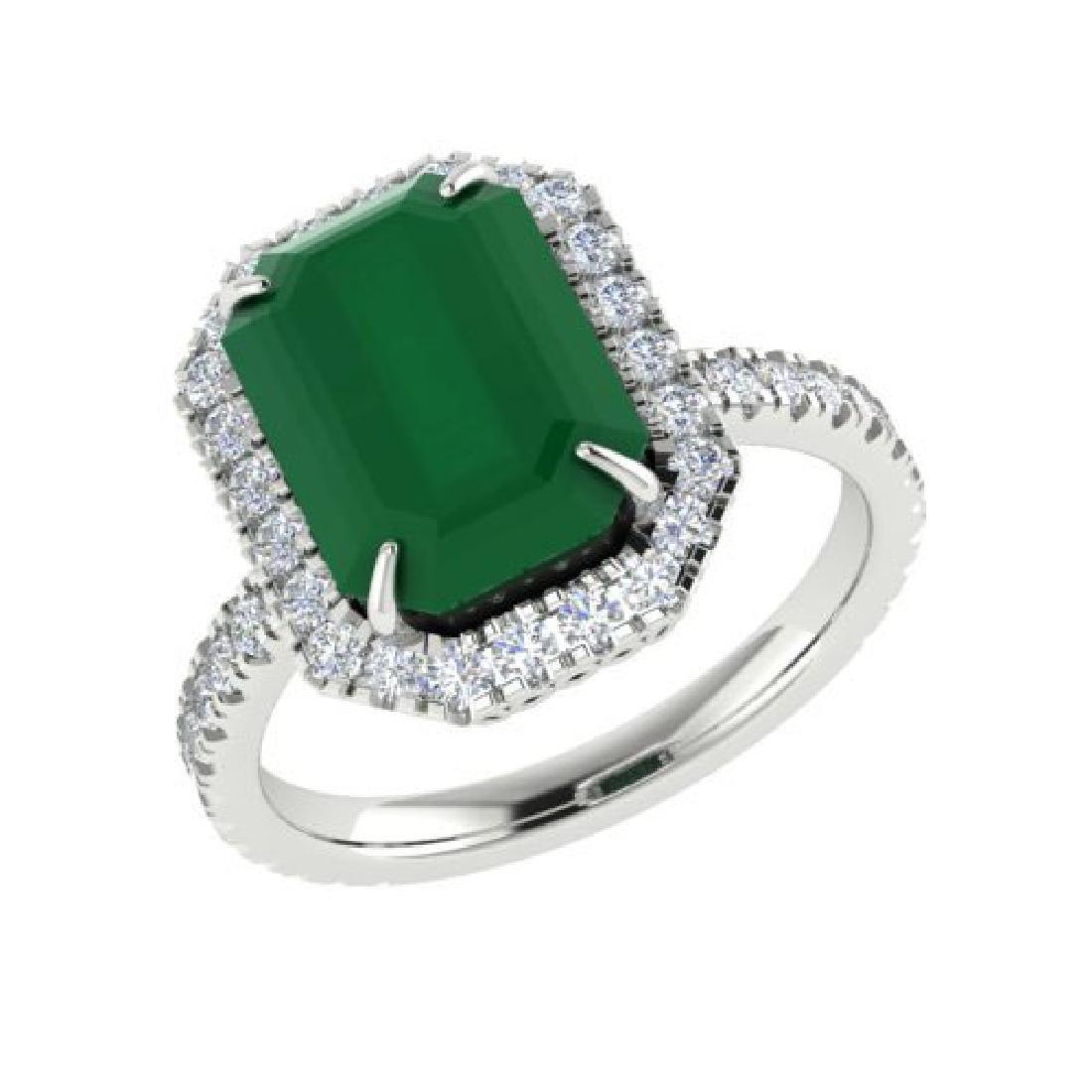 5.33 CTW Emerald And Micro Pave VS/SI Diamond Halo Ring - 2