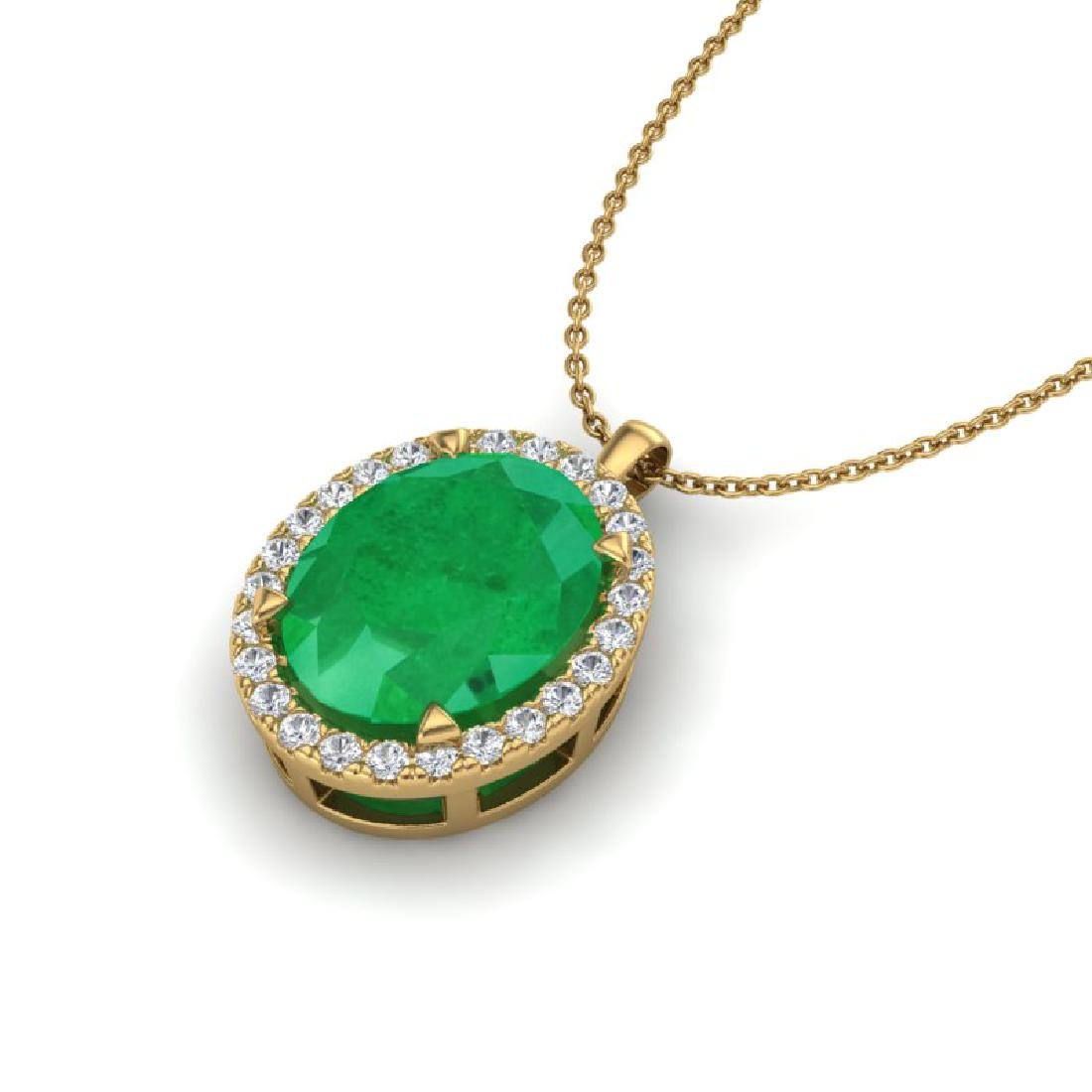 2.75 CTW Emerald & Micro VS/SI Diamond Halo Solitaire - 2
