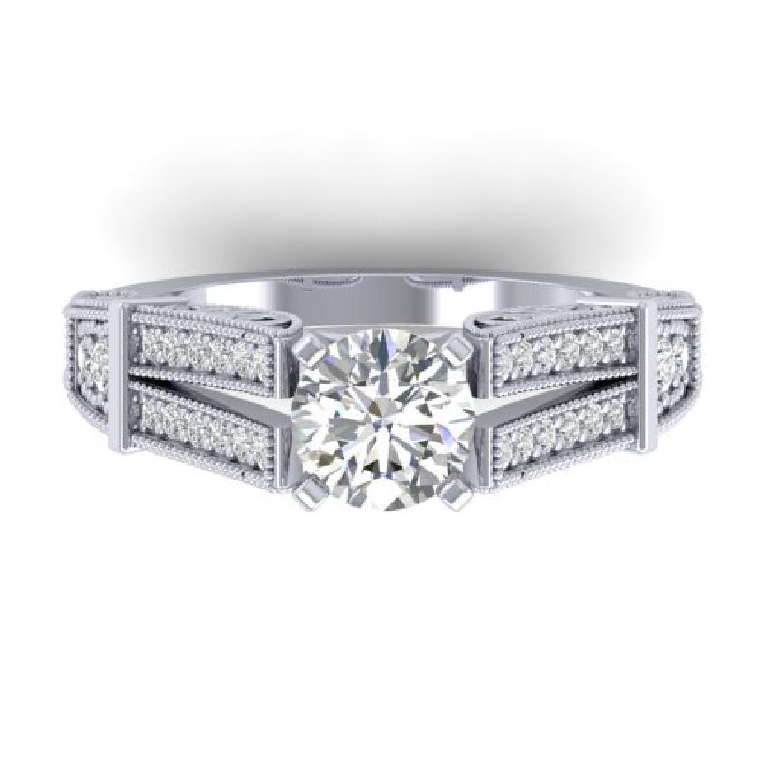 1.5 CTW Certified VS/SI Diamond Solitaire Art Deco Ring