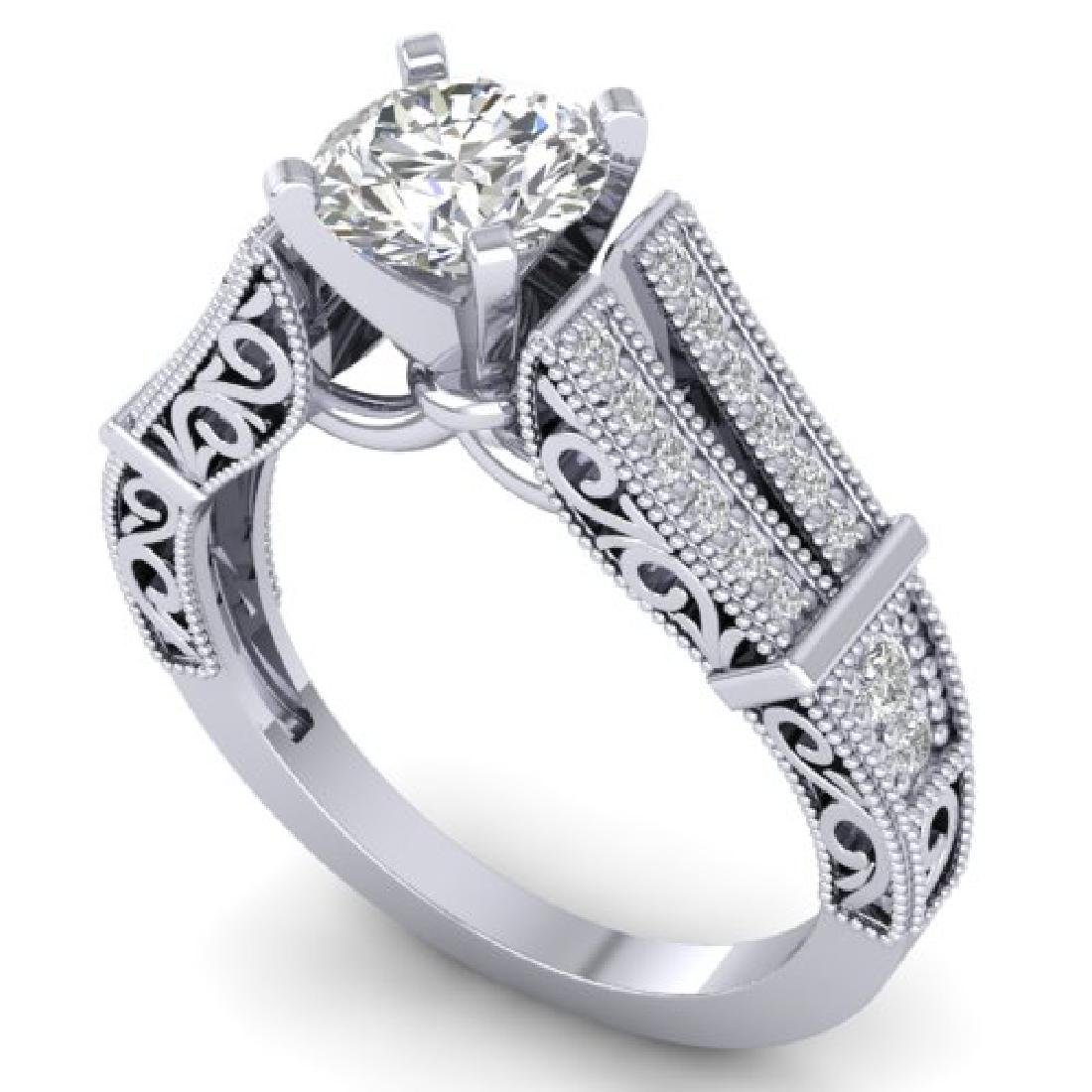 1.5 CTW Certified VS/SI Diamond Solitaire Art Deco Ring - 2