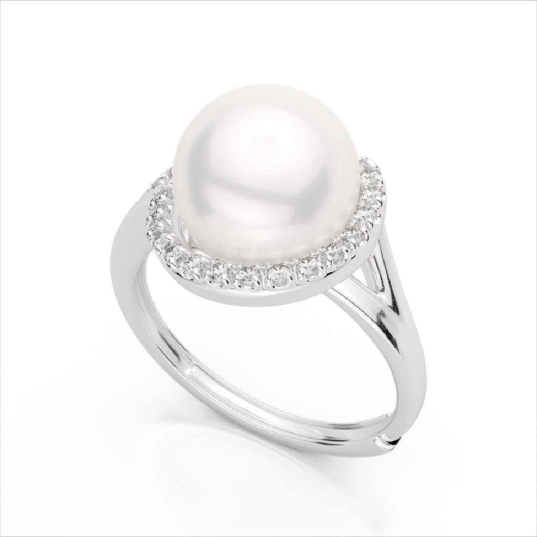 0.27 CTW VS/SI Diamond & Pearl Designer Ring 18K White - 2