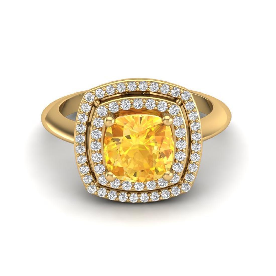 177 CTW Citrine Micro VSSI Diamond Pave Halo Ring