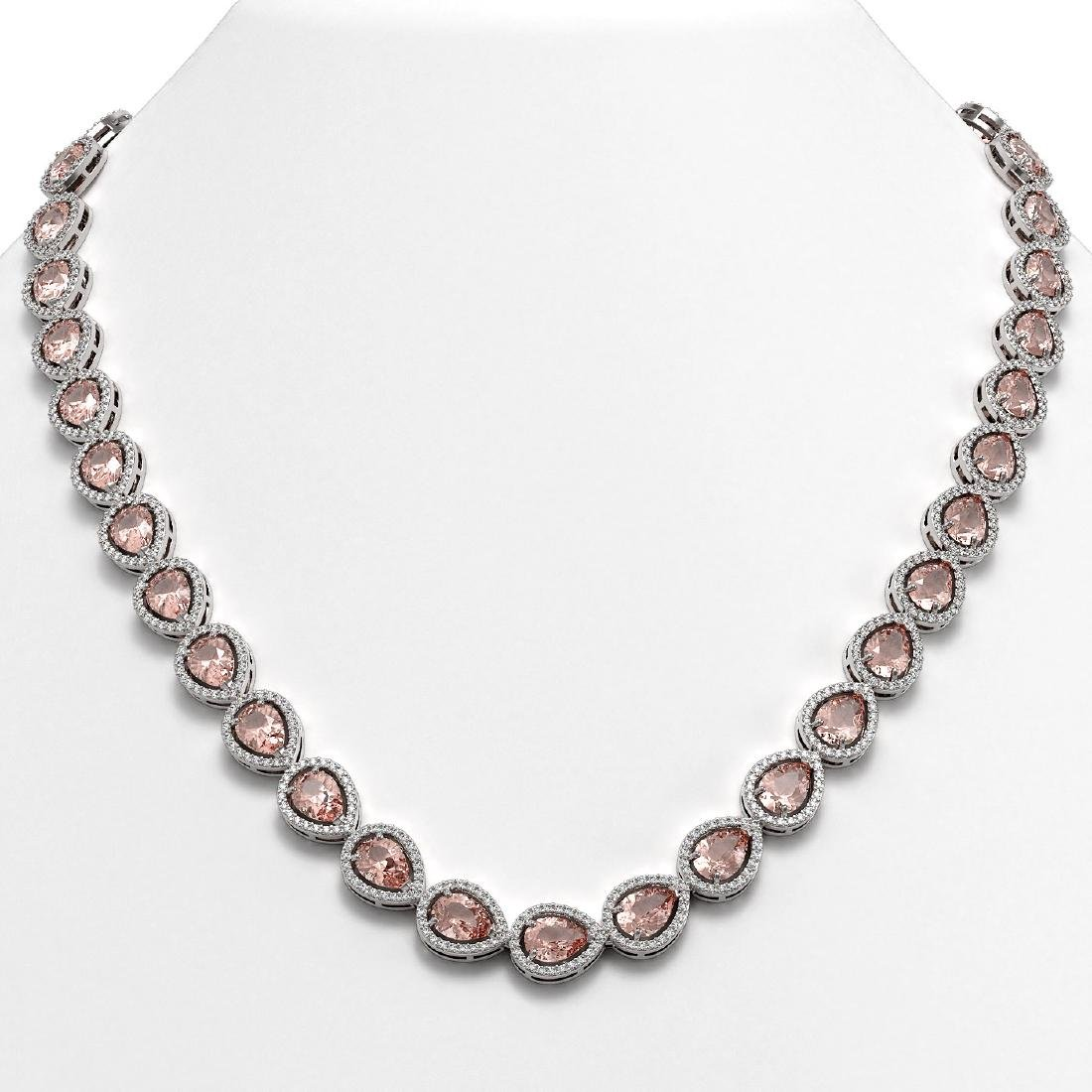 35.13 CTW Morganite & Diamond Halo Necklace 10K White