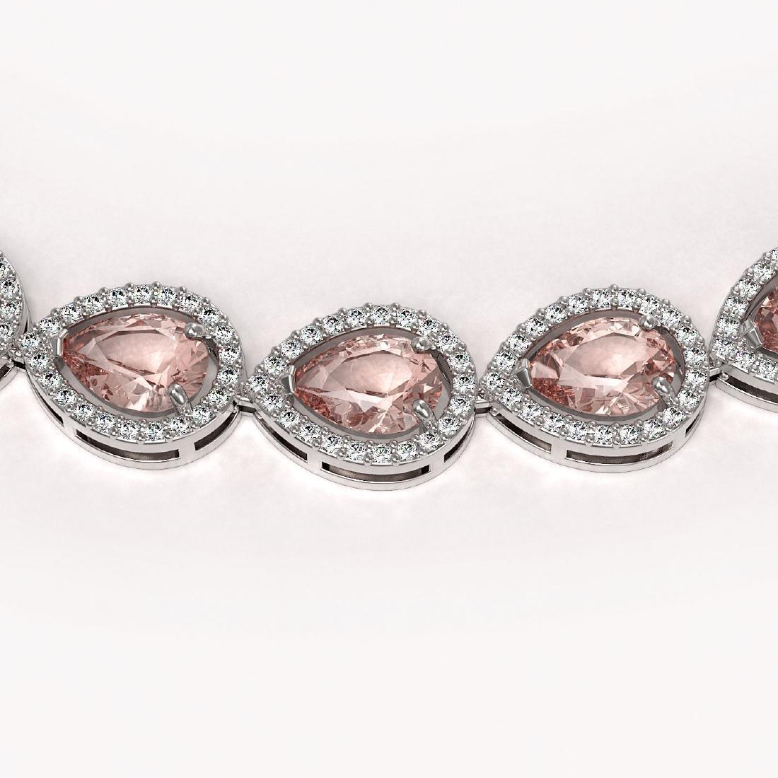 35.13 CTW Morganite & Diamond Halo Necklace 10K White - 3