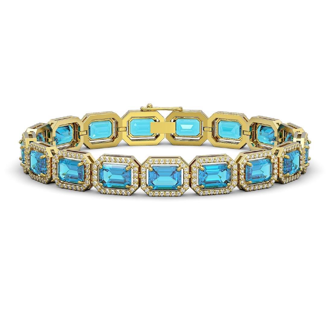 23.66 CTW Swiss Topaz & Diamond Halo Bracelet 10K