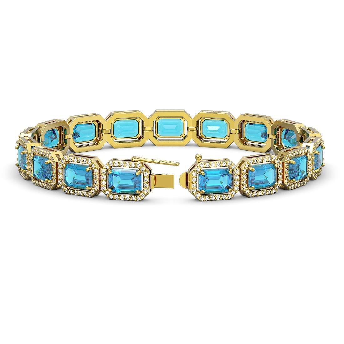 23.66 CTW Swiss Topaz & Diamond Halo Bracelet 10K - 2