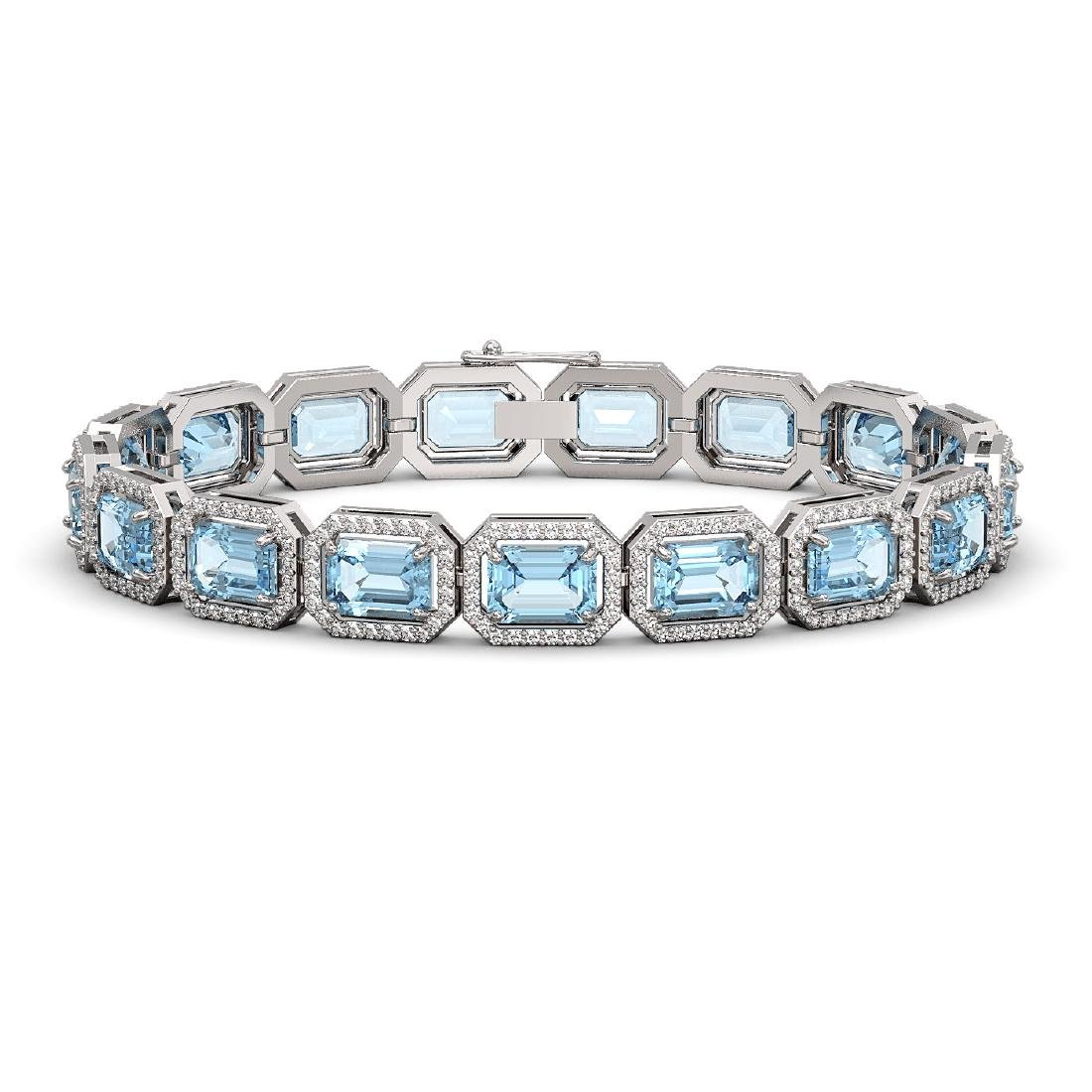 24.51 CTW Aquamarine & Diamond Halo Bracelet 10K White