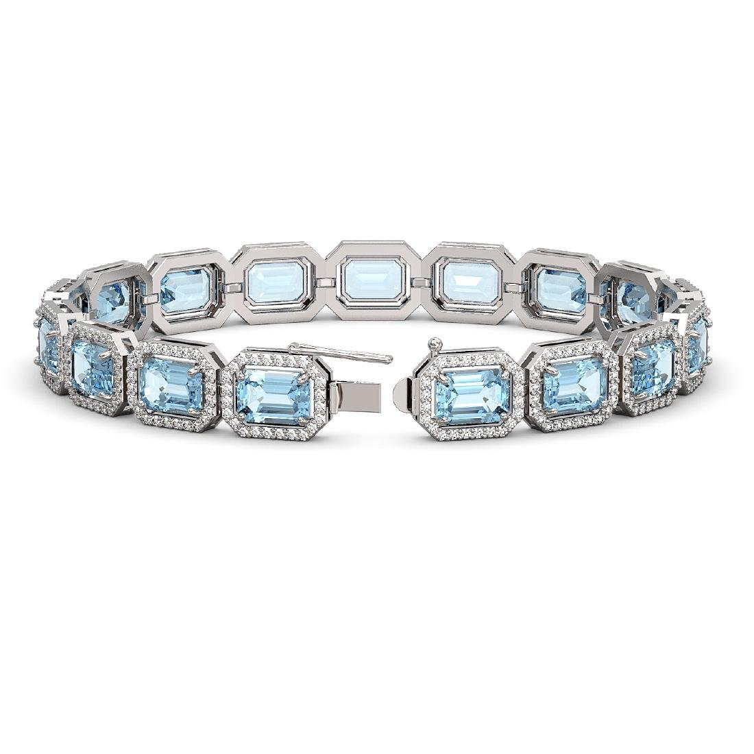 24.51 CTW Aquamarine & Diamond Halo Bracelet 10K White - 2