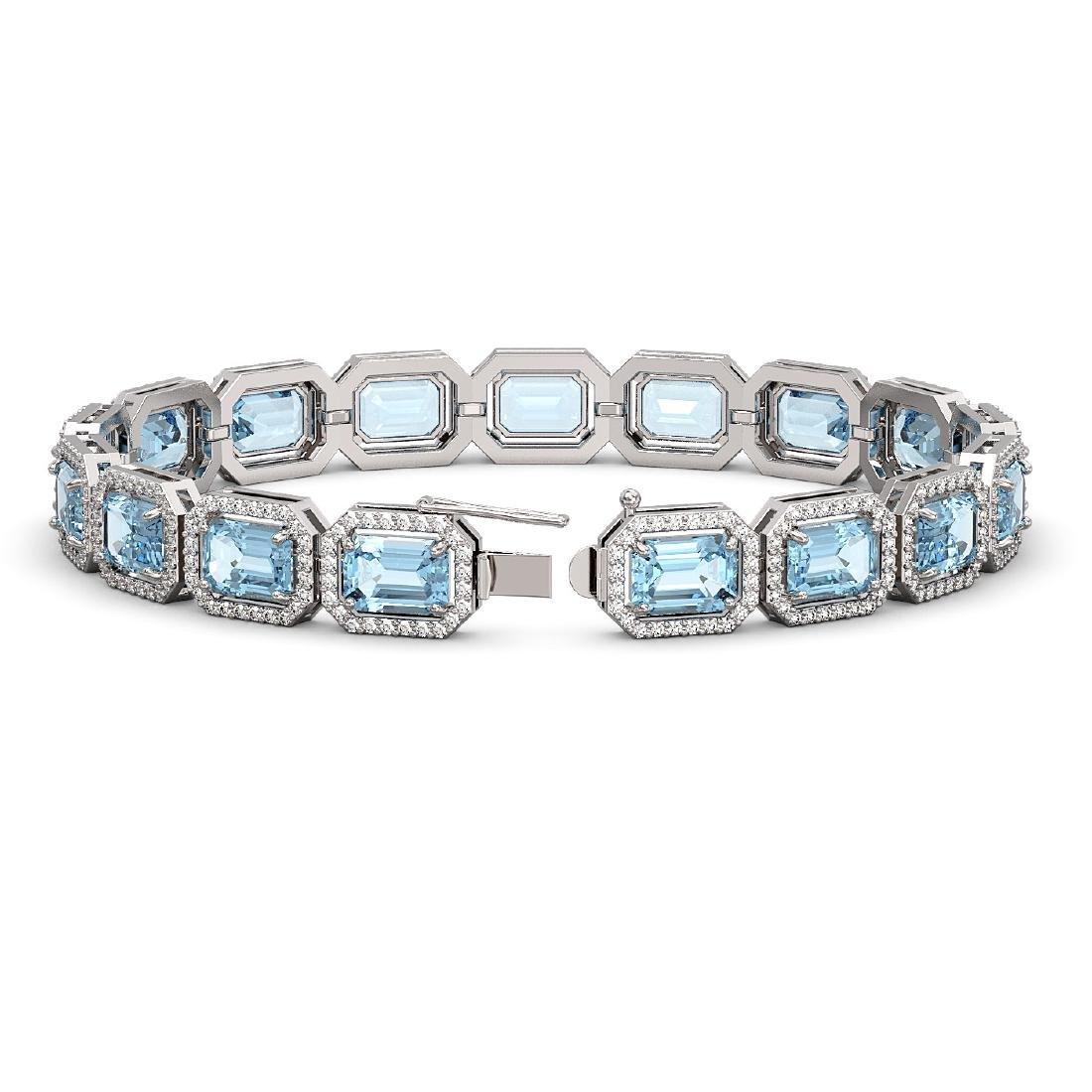 24.51 CTW Aquamarine & Diamond Halo Bracelet 10K White - 2